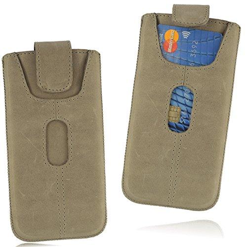 OrLine Handyhülle Ledertasche für Alcatel Idol 3C Tasche Echtleder Etui (Lasche mit Rückzugfunktion Ausziehhilfe mit Einer Kreditkartenfach) Schutzhülle Handytasche Hülle Cover Case Etui Slim