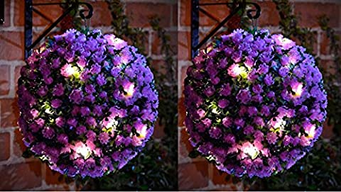 20 LED Solar Powered Rose Topiary Ball Boxwood Hanging Garden Light Ornament (2, Purple Topiary)