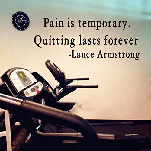 Wandtattoo Wohnzimmer Wandaufkleber Schlafzimmer Schmerz ist vorübergehend das letzte für immer aufhören Lance Armstrong zitieren Gym Office Workout Motivation Inspiration Aufkleber - Lance Fisch