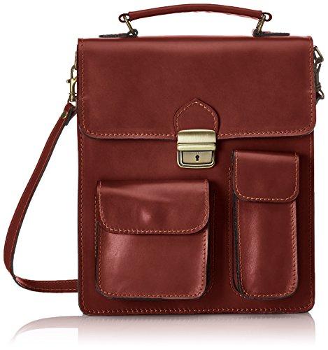 Man Tasche von Arbeit, Organizer Italienisch, 100% echtes Leder Made in Italy Braun (Marrone)