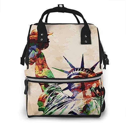 Watercolor American Goddess of Freedom Mochila multiusos de gran capacidad para momia, bolsa de pañales...