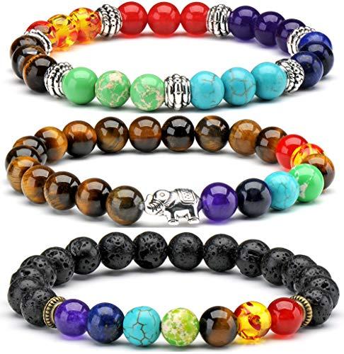 Senlinmu 3 x Halbedel Tigeraugen Perlen Armband 7 Chakra Reiki Energiebilanz Armbänder Charms für Frauen und Männer Geschenk (Mall Perlen Armband Frauen)