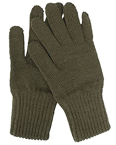 Genuine Belgian Army Issue Combat Winter Knitted Wool Gloves - Olive Green