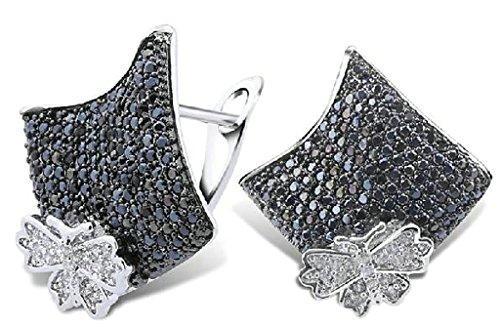 Beydodo Vergoldet Überzug Ohrringe Damen (Stud-Ohrring) Rhombus Schmetterling-Form Cubic Zirconia (Zombie Kostüme Eishockey)