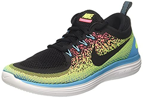 Nike Free Run Distance 2, Chaussures de Running Homme, Multicolore (Volt/Black/Hot Punch/Chlorine Blue/White), 43 EU