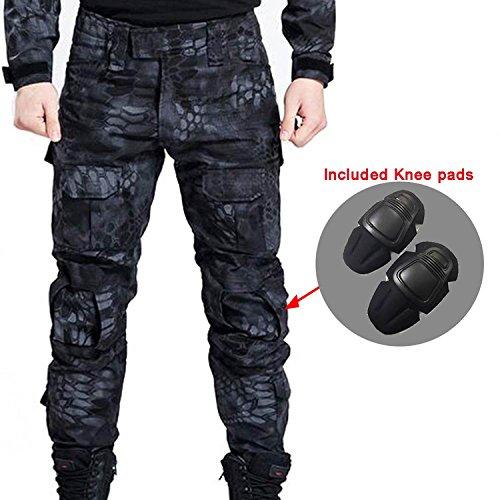 Männer Schießen BDU Kampf Pants Hosen mit Knieschützer Typhon Kryptek für Taktisch Armee Militär Airsoft Paintball (S) (M)