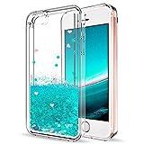 Mosoris Coque iPhone 5S Glitter Liquide Cover Mode 3D TPU Etui iPhone Se Etui Coque Transparent Silicone Bling Paillettes Flowing Sand pour iPhone 5 / 5S / Se Souple Flexible Case, Vert