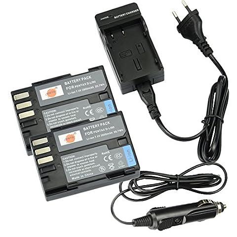 DSTE®(2 Pack)Ersatz Batterie und DC93E Reise Ladegerät Kit für Pentax