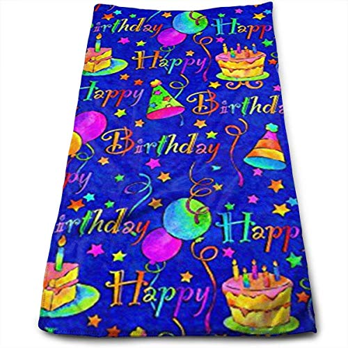Happy Birthday Cake Blue Cool Towel Beach Towel Instant Cool Ice Towel Gym Quick Dry Towel Microfibre Towel Cooling Sports Towel