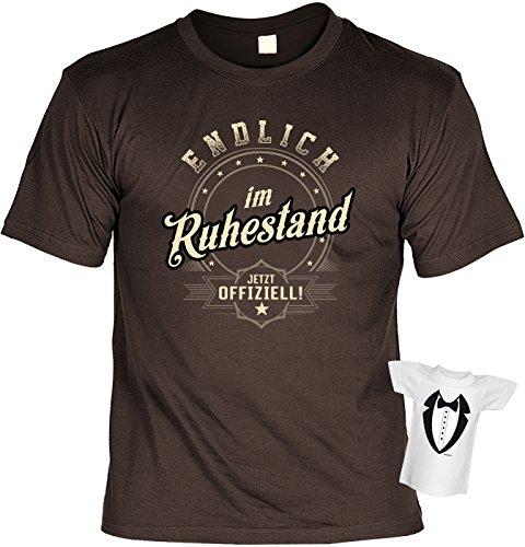Rentner-Sprüche Tshirt lustiges Geschenk Ruhestand : Endlich IM Ruhestand Jetzt Offiziell - Rentner-Shirt Motiv/Spruch Rente + Mini Flaschenshirt Gr: XXL