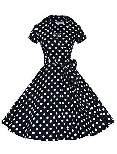 MatchLife Femme Slim Fit Vintage Rockabilly Robe de Soirée Noir Dot