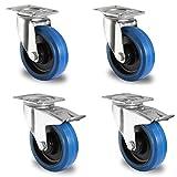 Meditool 4pcs 100 mm ruote girevoli Ruote girevoli per mobili Maxi capacità: 600 kg 2 con freno 2 senza freni blu