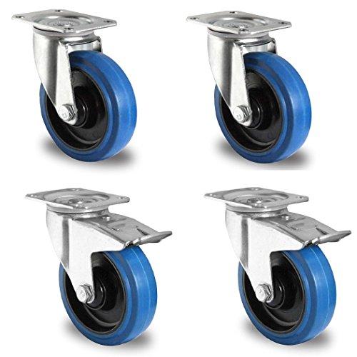 Meditool 4Pcs 100mm Ruedas Pivotantes Ruedas Giratorias para Muebles Maxi Capacidad: 600kg 2 con Freno 2 sin Freno Azul