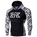 UFACE Sport Laufen Fitness Langarm-Druck Männer Kapuzen-Top-Sweatshirt Fitness Langarm Bodybuilding Skin Tops Hoodie Sweatshirts Bluse(C,3XL)