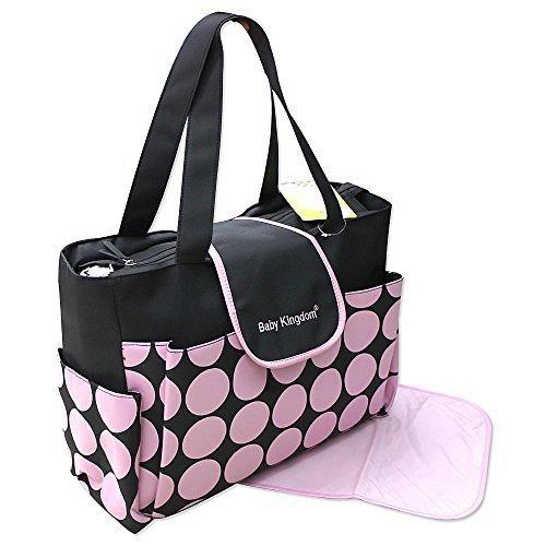 Modello 2015, rosa nero Borsa porta pannolini, borsa da viaggio, borsa fasciatoio, 2 pezzi, colore
