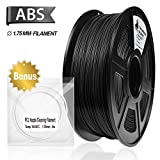 3D Filament, ABS 3D Printer Filament 1.75mm, 1KG Spool(2.2lbs),3D Printing Filament Dimensional Accuracy +/- 0.02mm- NO Clogging(Black)
