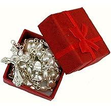 Hermoso color blanco corazón rosario en rojo caja de regalo – perfecto primera Navidad Rosario,