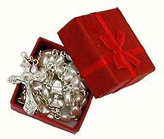 Idea Regalo - Rosario cuore bianco in scatola regalo rosso, perfetto primo Natale Rosario, battesimo, matrimonio, fidanzamento, Memorial, anniversario, Baby Shower, 1st ragazze o ragazzi regalo di natale