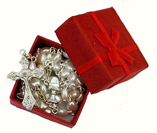 Schöne Weiß Herz Rosenkranz in rot Geschenk-Box–Unisex Perfekte Erste Rosenkranz, Taufe Hochzeit Verlobungsring Memorial Jahrestag Weihnachten Mädchen oder Jungen Geschenk