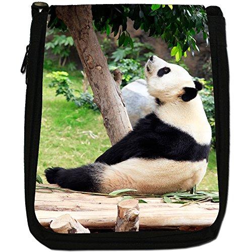 Panda Medium Nero Borsa In Tela, taglia M Panda Staring Up