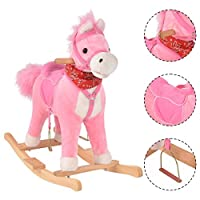 Costway Schaukelpferd Schaukeltier Schaukelspielzeug Plüschschaukel mit Musik Plüschbezug Schwanzwendeln und Mundöffnen rosa
