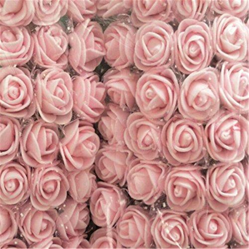 HOBOYER Künstliche Blumen Rose, 144pcs Real Touch Fake PE-Schaumstoff Rosen mit Schleier für Home Party Dekoration Hochzeit Blumen Blumensträuße Geburtstag Baby Dusche DIY Design groß Venue Decor