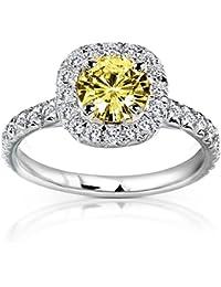 Amarillo redondos Moissanite anillo de compromiso de diamantes y 12/5quilates (de quilate) en 14K oro _ 4,5_ 14K oro blanco