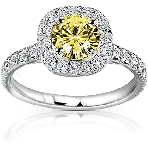 Amarillo redondos Moissanite anillo de compromiso de diamantes y 12/5quilates (de quilate) en 14K oro _ 4,5_ 14K oro