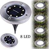 TWIFER 8LED Solar Power Buried Licht unter Boden Lampe Outdoor Path Way Garden Terrassendielen (Warmweiß)