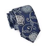 MASSI MORINO Seidenkrawatten für Herren, handgenähte Krawatte Seide in Verschiedenen Farben - schmale 6,5 cm Slim Fit Herrenkrawatte (Paisley Dunkelblau)