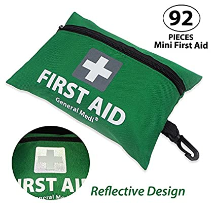 Mini First Aid Kit,92 Pieces Small First Aid Kit - Includes Emergency Foil Blanket, CPR Respirator,Scissors for Travel, Home, Office, Vehicle,Camping, Workplace & Outdoor (Green) 4