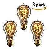 KINGSO 3 x Edison Vintage Glühbirne, E27 40W A19 Dekorative Glühlampe, Warmweiß Dimmbar Squirrel Cage Filament Kohlefadenlampe oder Deckenleuchte Ideal für Nostalgie und Retro Beleuchtung