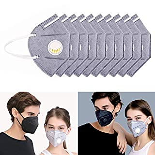 10 Pack Dust Mask Disposable, Flying swallow N95 Particulate Respirator Face Safety Masks with Exhalation Valve 7 Layer Activated Carbon Air Filter Adjustable Earloop (Grayish white)