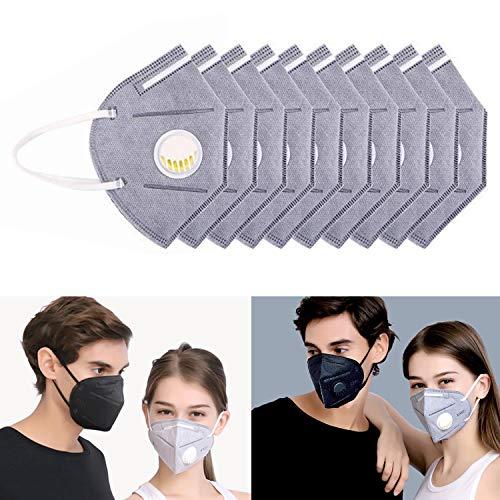Flying swallow 10 X Mascherina Antipolvere Respiratore Maschere con Filtro Valvola Bocca Maschera Protettiva per Protezione Respiratori (Bianco grigiastro)