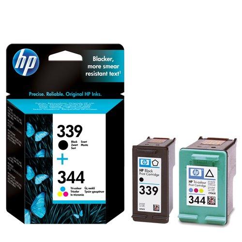 Preisvergleich Produktbild 2 x HP Tintenpatronen - Nr. 339 schwarz + Nr. 344 mehrfarbig