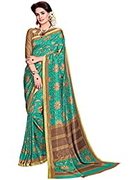 DESIGN WILLA Trendy New Collection Women's Art Silk Saree With Blouse Piece(green With Brown Border)
