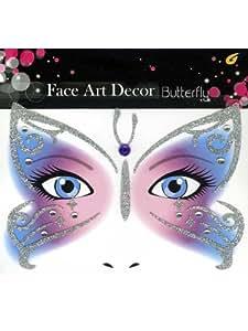 Tatouages éphémères paillettes turquoises et strass blancs papillon temporaires paillettes pour le visage décor de peau [88191506b]