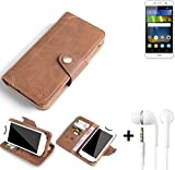 K-S-Trade® Schutzhülle für Huawei Y6Pro LTE Hülle Tasche Handyhülle Handytasche Wallet Flipcase Cover Handy Tasche Kunsteleder Braun Inkl. in Ear Headphones