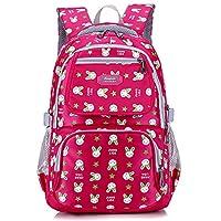 Uniuooi Primary School Bag for Girls Age 7-12 Years Cute Rabbit Print Waterproof Kids Backpack Rose Red