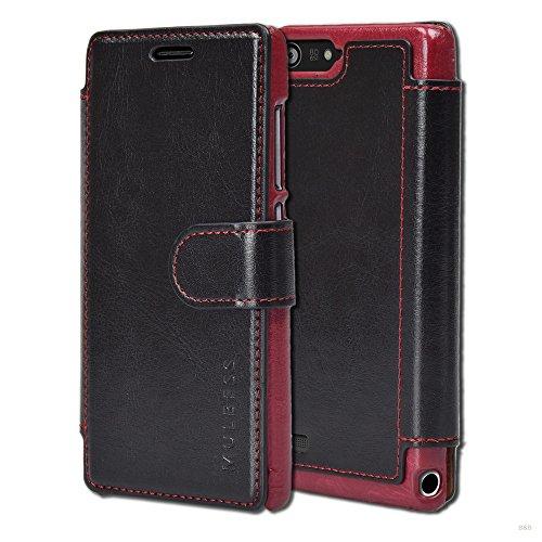 Mulbess Layered Dandy Ledertasche im Bookstyle & Kartenfach für Huawei P7 Mini hülle Tasche Leder,Schwarz