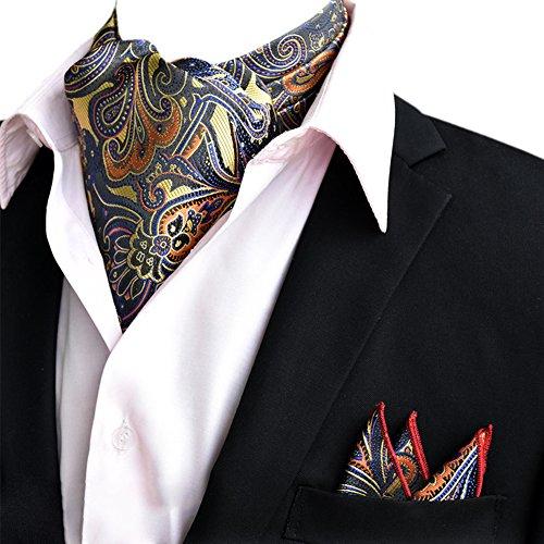 Ascot-schal (YCHENG Herren Krawattenschal Paisley Gewebtem Jacquard Krawatte Taschentuch Ascot Set Grau XLJ-02)