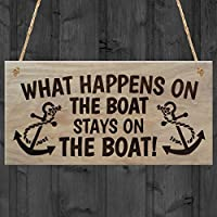 RED OCEAN Happens Stays On The Boat Plaque Wooden Sign Hangi, Wood, Brown, 20 x 0.6 x 10 cm