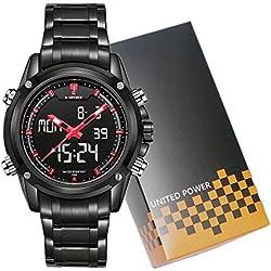 NAVIFORCE Brand Sport Full Steel Digital LED Army Military Wrist Watch (Red)