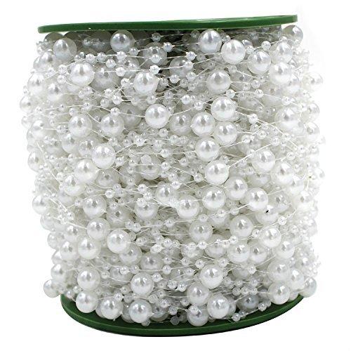 ICTRONIX 60m/Roll Perlenkette Perlenschnur Perlengirlande Hochzeit Tischdeko Rose Weiß