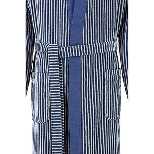 Cawö Herren Bademantel Saunamantel Velours Qualität Kimono Form Blau