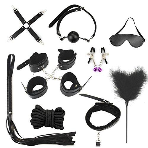 Juguetes-de-Adultos-Pareja-10-pcs-Restricciones-Cama-SM-Kits-Bondage-Negro-Collar-Ltigo