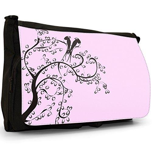 Birds Of Paradise Silhouette-Borsa Messenger, colore: nero, Borsa a tracolla in tela, borsa per Laptop, scuola Nero (Rosa pastello)