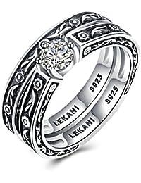 Silber Ring mit Linienmuster 925 Sterling Oxidiert Massiv Glänzend Herren Damen