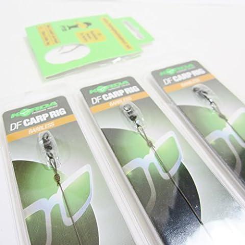 FTD–3x Korda DF Karpfen-Rigs, Soft N Trap beschichtete Haken, 6,8kg