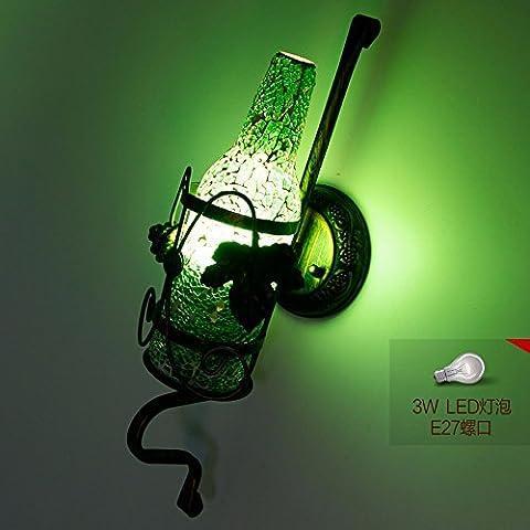 Bar KTV Wandleuchte kreative Industrieleuchte cafe Gang Flur Glasmalerei Weinflasche Wandleuchte, Grün